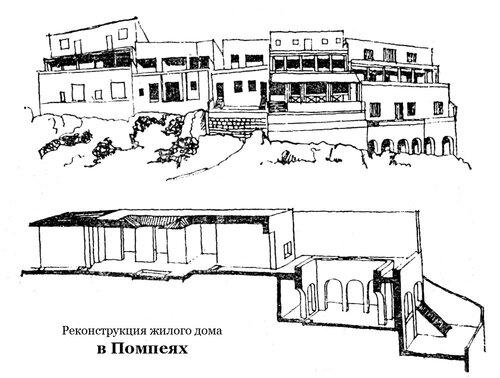 Реконструкция жилого дома в Помпеях, чертежи