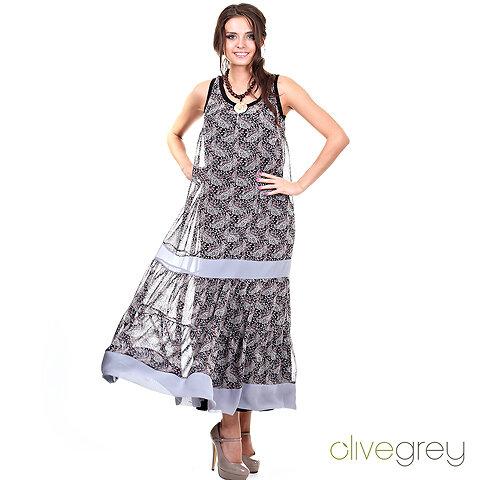 4e36b984d83 9. платье famey огурцы черно-серые цена 2490+10%  Размеры 44-54. Шикарное  двойное платье - верхнее - из летящего шифона