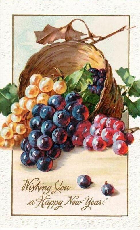 К. Кляйн.С Новым годом!  Корзина с виноградом.