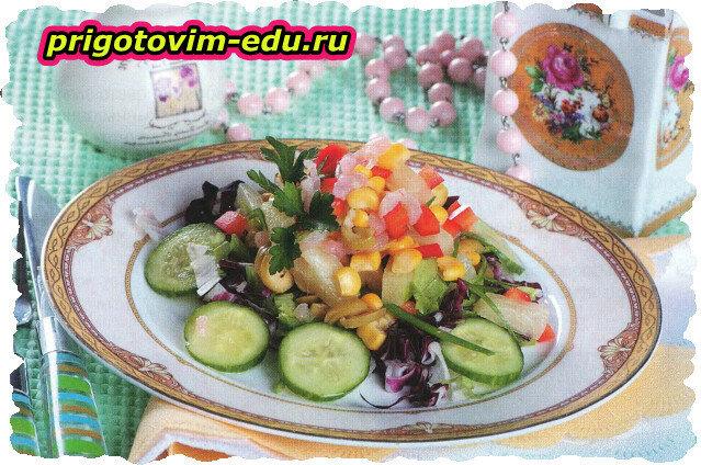 Салат из криля с оливками