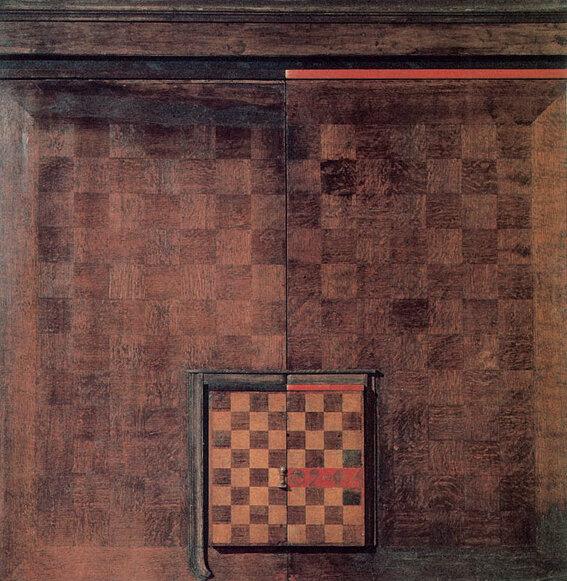 Осень-89 (посвящается 2мK). 1989. Борис Смертин. Дерево, рельеф, масло. 132х130 см.