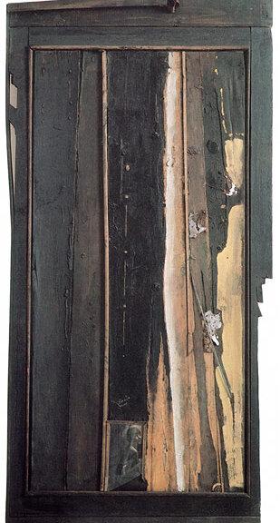 Пятая осень. 1983. Борис Смертин. Ассамбляж, масло. 117х69 см.