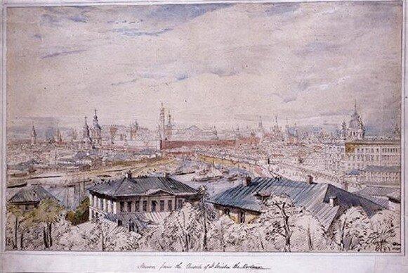 George Belton Moore (British 1806-1875). Панорамный вид Москвы со Швивой горки, от из церкви Святого Никиты Мученика, 1835