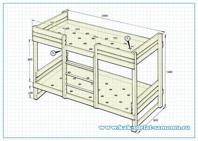 Схема кровати двухъярусной