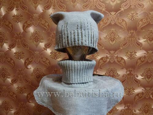 шапка и воротник из свитера