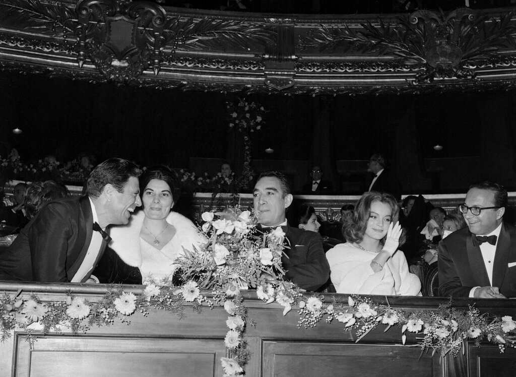 With Anthony Quinn (C) andPaul Hubschmid (L) at the ParisOpera House premiere of TheCardinal (1963)