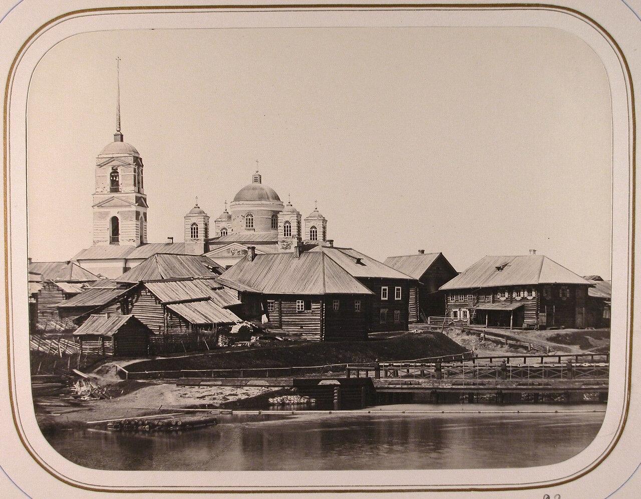 Вид Шлиссельбургской плотины; на втором плане -церковь и жилые дома у Озерского погоста