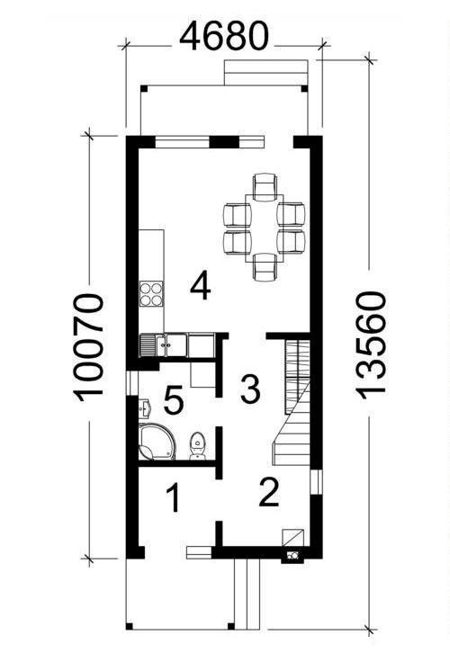 Проект домика. План первого этажа.