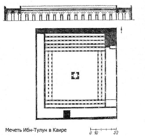 Мечеть Ибн-Тулун в Каире, план и фасад