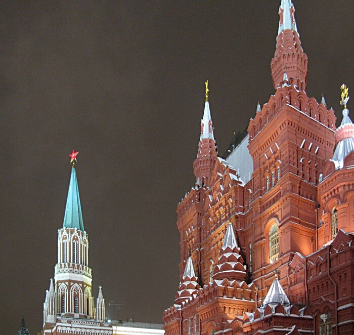 Christmas evening on red square, Moscow