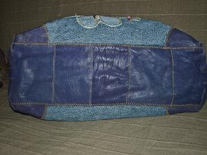 Дно сумки из кусочков кожи