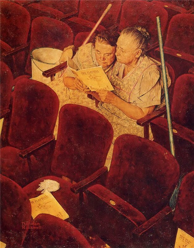 Charwomen in Theater. Norman Rockwell, 1946.