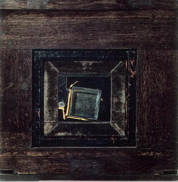 Июньские грозы. 1989. Борис Смертин. Ассамбляж, масло. 57х57 см.