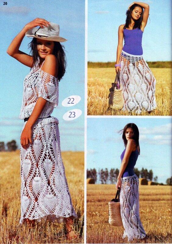 Для вязания потребуется: 500 г х/б пряжи белого цвета (565 м/100 г). Вязание крючком 2. Платье крючком 44 размера.