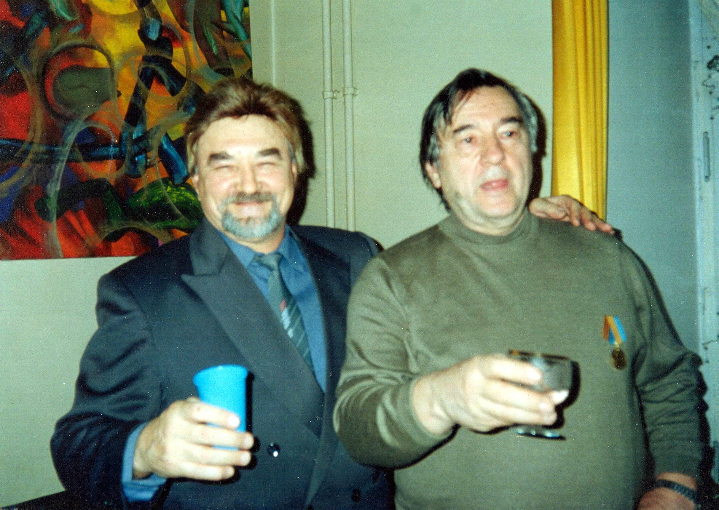Евгений Чебалин  с Александром Прохановым на его дне рождения.