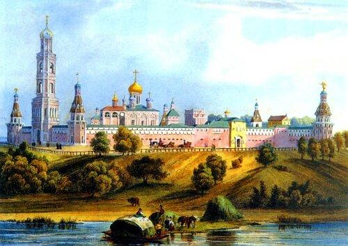 Симонов монастырь. Литография. Бишбуа. 1846 год.