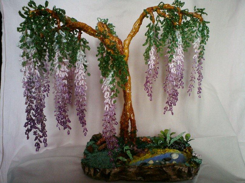 Поделка изделие Бисероплетение Глициния-дерево из бисера Бисер фото 3.