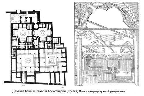 Двойная баня эс-Захаб в Александрии (Египет), чертежи