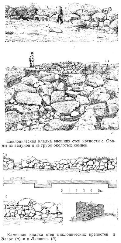 Циклопическая кладка внешних стен крепости с. Оромы из валунов и из грубо околотых камней