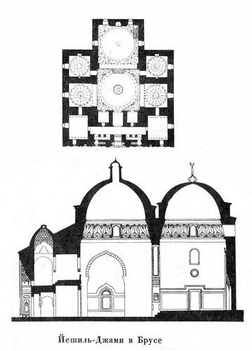 Ильяс-Али. Иешиль-Джами в Брусе, чертежи