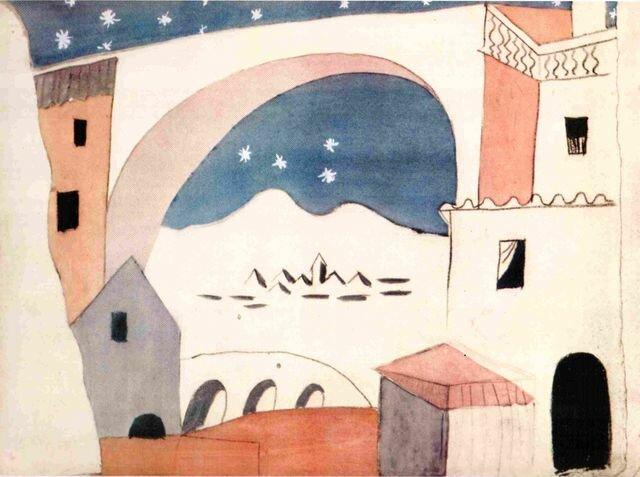 Эскиз декораций к балету «Треуголка». Пабло Пикассо.