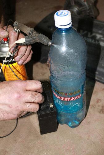 Брыгаем форсункой в бутылку