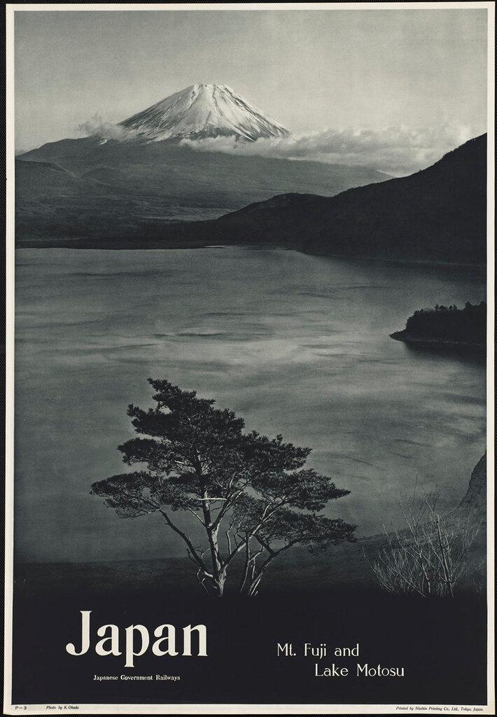 Travel posters Japan. Mt. Fuji and Lake Motosu 1910-1959