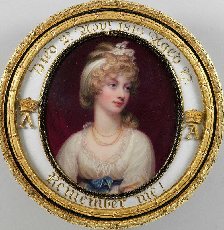 Табакерка установить с миниатюре принцессы Амелии (1783-1810)  Подпись и дата 1811Акварель на слоновой кости миниатюре; черепаховый коробка