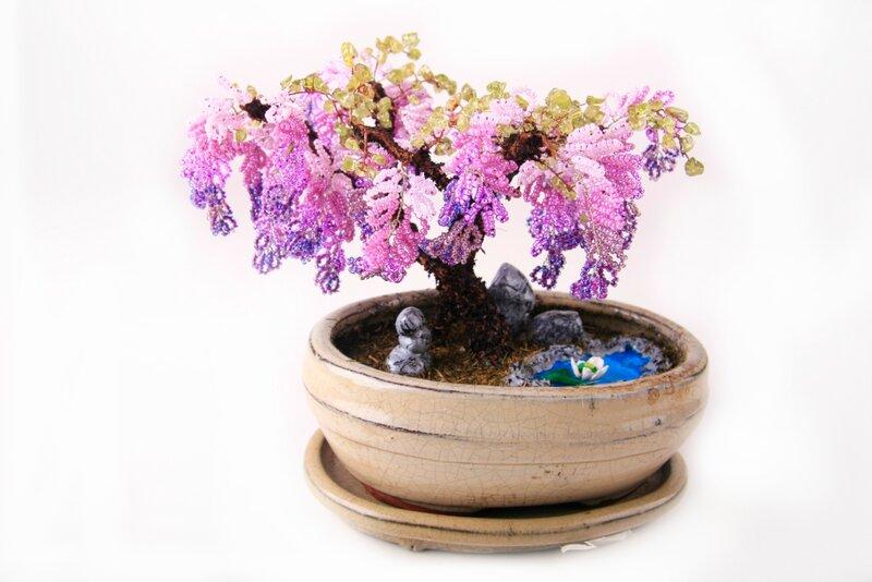 Сувениры Глициния из бисера (Цветы и деревья) .