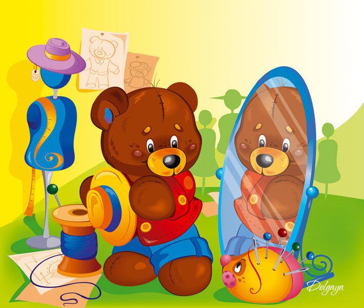иллюстрация к книжке про игрушки. медвежоонок.