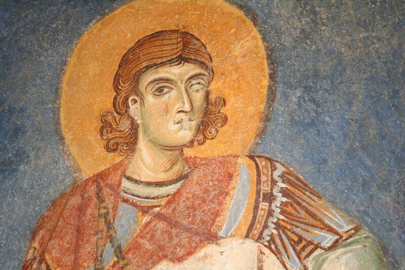 Святой мученик Нестор Солунский. Фреска в церкви Св. Пантелеимона в Нерези, Македония. 1164 год.