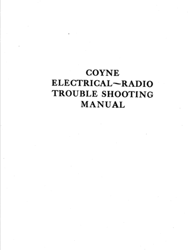 Coyne Electrical and Radio Trouble Shooting Manual - Coyne Electrical School - Book Cover