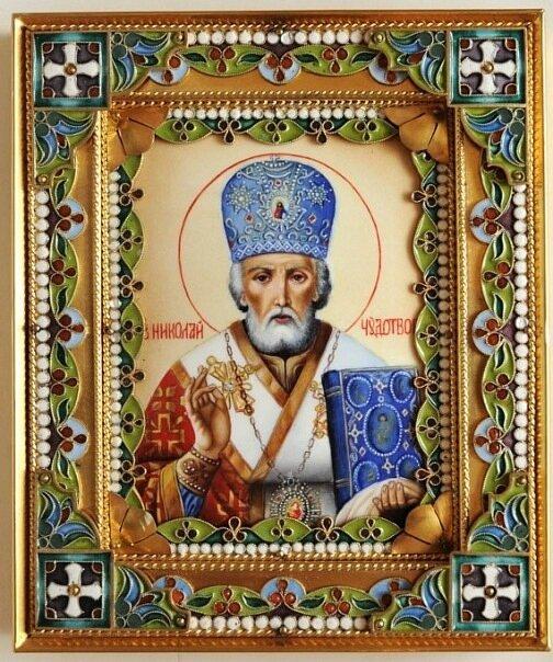 икона Николая Угодника с житием.