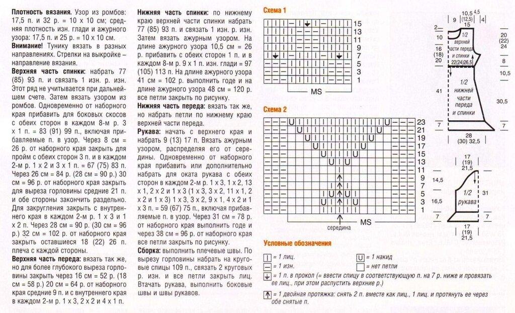 Схема вязания спинки на спицах 318