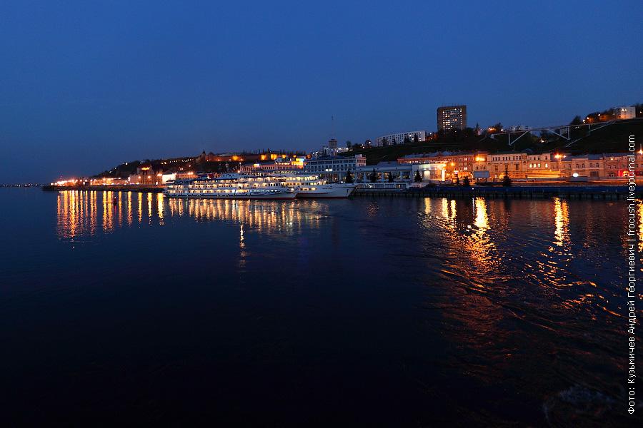 Речной вокзал Нижнего Новгорода вечером