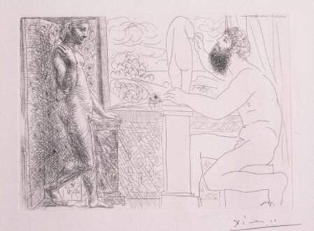 Скульптор и его модель перед окном. 1933, офорт, Пабло Пикассо (1881-1973)