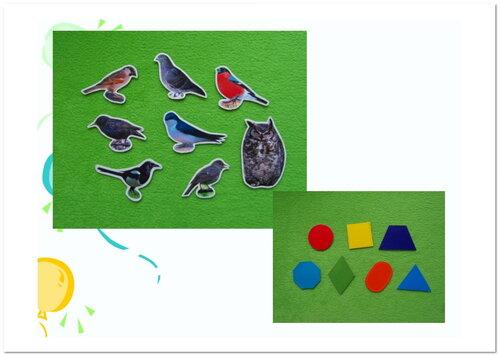 Дидактический материал... карточки с изображением птиц и геометрических форм основных цветов спектра