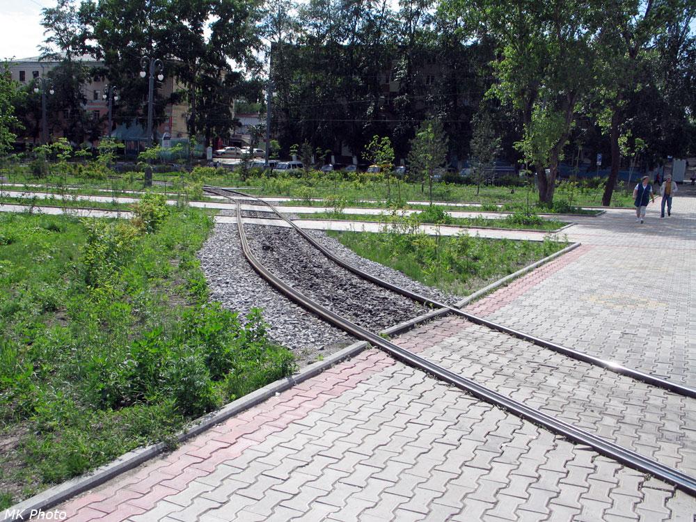 Трамвайные пути на Амурском бульваре