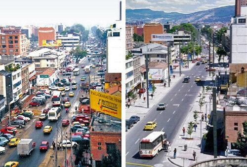 одна из улиц боготы до и после изменений