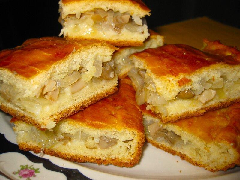 пирог с грибами, рецепт приготовления