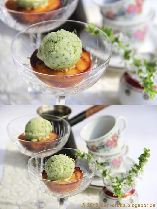 Базиликовое мороженое на грилованных персиках