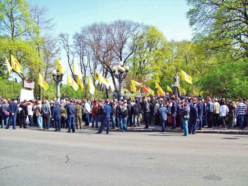 Сбор участников митинга чернобыльцев