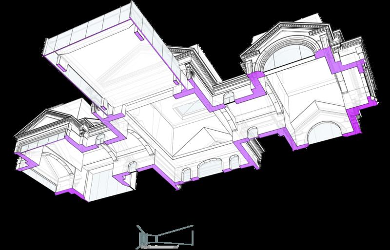 Особняк с классическими фронтонами, потолок мансарды. C остекленной террасой на втором этаже, пристроенной консольно