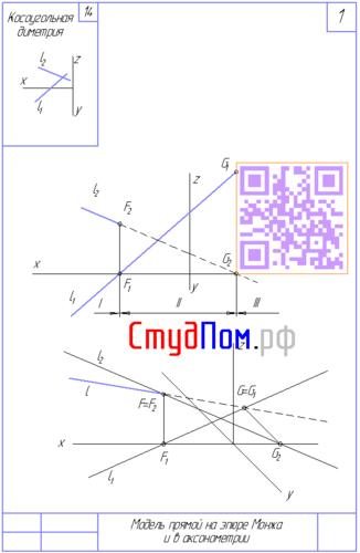 Модель прямой на эпюре Монжа и в акснометрии СПбГАСУ