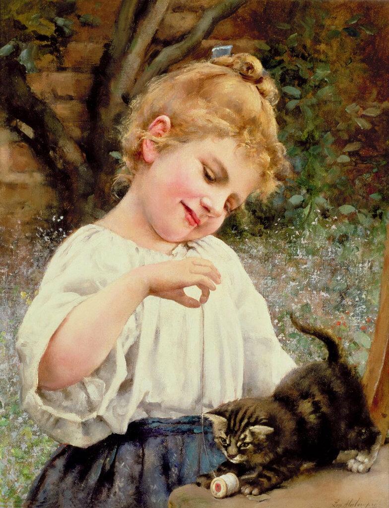 """Картина  """"Девочка играет с котенком """".  Вышивка крестом, схемы.  СХЕМА."""