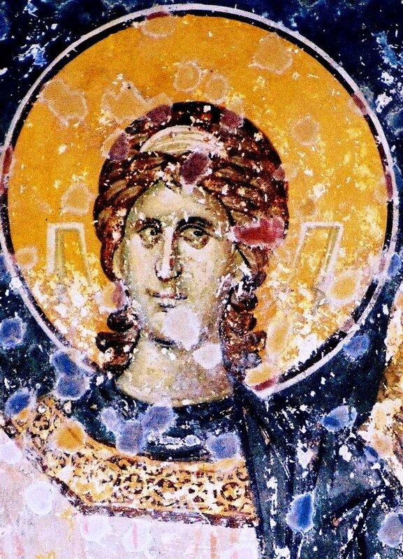 Ангел-диакон. Фреска церкви Богородицы Левишки в Призрене, Косово, Сербия. 1310 - 1313 годы. Иконописец Михаил Астрапа.