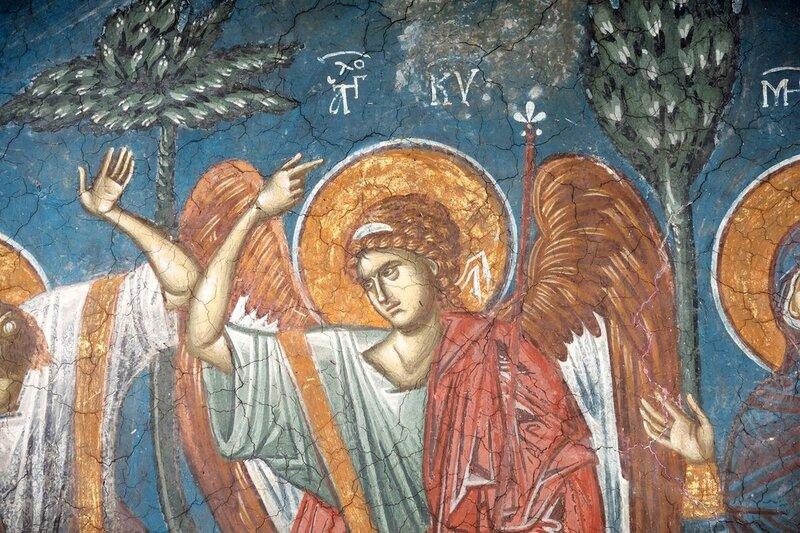 Вознесение Господне. Фреска монастыря Высокие Дечаны, Косово, Сербия. Около 1350 года. Фрагмент.