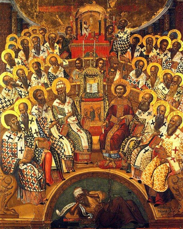 Первый Вселенский Собор. Икона критской школы. 1591 год. Иконописец Михаил Дамаскин.