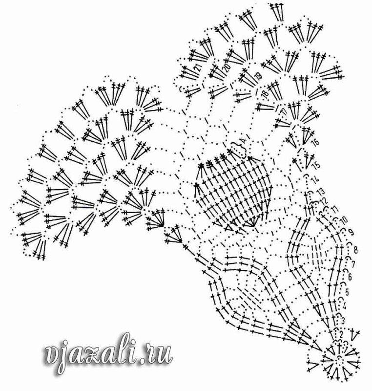 """Салфетка  """" Подснежник """" - описание вязания и схема.  Вязание крючком - схемы для вязания салфеток."""