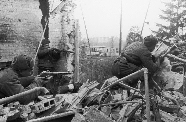 Soviet Soldiers Firing from Rubble